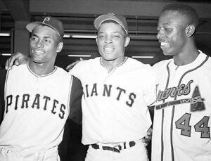 Hank Aaron Willie Mays Roberto Clemente PHOTO Pirates Giants Braves Baseball