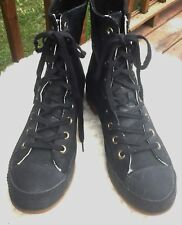 Converse Women's Shoes Black All Star High Top Leather Boots Size US 10.5M