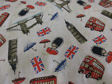 """Welcome to London"" Big Ben,Queens Guards, London Landmarks 100% Cotton Fabric."