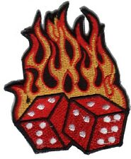 Flaming Dice Rockablily Gambler Embroided Iron on Patch