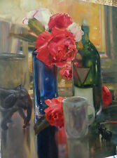 original oil painting - Floral Rose Still Life - make an offer - realism Art
