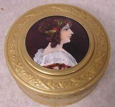 Antique Enamel Topped  Portrait Gilt Metal Jewelry Box