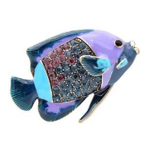 Purple Reef Fish Enamel Pin Brooch Rhinestones Animal Jewelry Sea Creature Ocean
