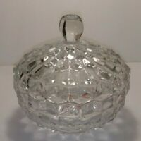 ~ Fostoria Glass ~ CANDY DISH with LID ~ CLEAR GLASS ~ CUBES / Cubist VINTAGE
