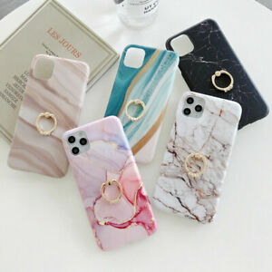 Marble Case Ring Stand Holder Phone Cover For iPhone 12 Mini 11 Pro Max 8 7 Plus