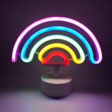 Rainbow Neon Light Sign Night Light Battery Powered for Room Decoration+Base