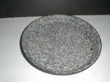 Gray Black Mottled Metal Graniteware Enamel Enamelware Pie Pan Plate Antique 3E