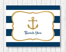Nautical Gold Anchor Thank You Card Printable