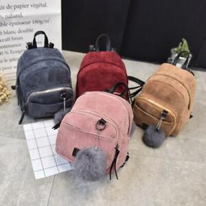 Women Backpack Corduroy Mini School Bags Small Travel Handbag Shoulder Bag