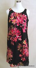 Dana Buchman Summer Shift Dress Sz Small Black Pink Floral Print Sleeveless NWT