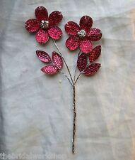 Crystal Diamante Flower Pick Wedding Flowers Buttonholes Bouquets 7 Colours