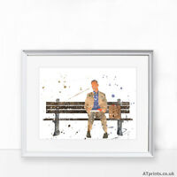 FORREST GUMP Print Poster Watercolour Framed Canvas Wall Art Gift idea