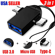 3-in-1 OTG USB 3.0 Female to USB 3.1 Type C & Micro-B Male Adapter Converter US