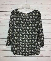 Pixley Stitch Fix Women's L Large Black Elephant Print Long Sleeve Top Blouse