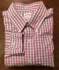 Brooks Brothers Men's Large L Long Sleeve Plaid Dress Shirt All Cotton Red