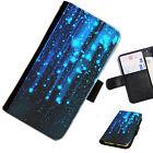 sta02 Azul Estrellas Impreso Cartera De Cuero / Funda libro para teléfono móvil