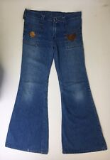 Wrangler Bell Bottoms Jeans Denim 70s DIY Floral Sewn Patch Scovill USA 34x31.5