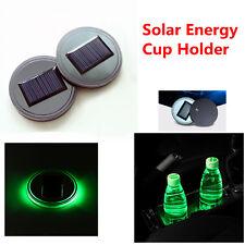 Green Light Solar Energy Cup Holder Bottom Pad LED Light Cover Trim for All Car
