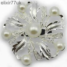 NEW SILVER TONE FLOWER FAUX PEARL BROOCH WEDDING BRIDAL PARTY PIN BROACH GIFT UK