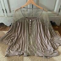 M Boho Feminine Lace Mocha Button Front Blouse Top Vtg 70s Insp Womens MEDIUM