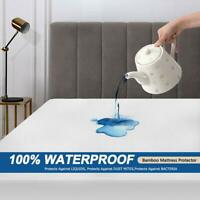 Premium Bamboo Mattress Protector Waterproof Hypoallergenic Fitted Bed Cover