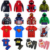 Kids Boys Superhero Cartoon Hoodie Sweatshirt T-Shirt Coat Nightwear Outfits Set