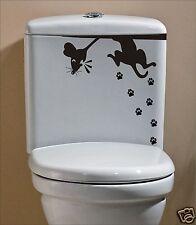Cat & miedo Ratón Gracioso Pegatina Calcomanía para cuarto de baño WC humor inodoro pawsprint