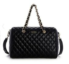 Guess Women's Sweet Candy Large Quilted Satchel Handbag Black