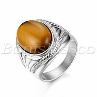 Men's Silver Vintage Stainless Steel Oval Tiger Eye Stone Ring Band Size 7-13
