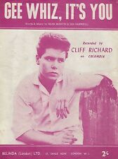 "Cliff Richard Gee Whiz its You 16"" x 12"" Repro SHEET Music cover Poster Photo"