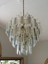 Brass and Glass 4 Tier Chandelier
