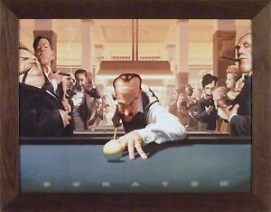 SCRATCH by James Bennett 22x28 FRAMED WALL ART Pool Billiards Game Room 8 Ball