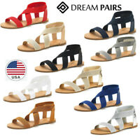 DREAM PAIRS Women Elatica Summer Casual Street Elastic Ankle Strap Flats Sandals