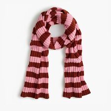 NWT UNOPENED J.Crew Ribbed striped cashmere scarf $168 rust petal