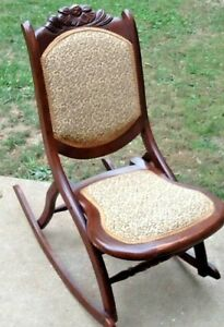 BEAUTIFUL Folding Wood Rocking Chair Antique Tapestry Victorian Style Rocker