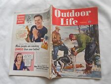 OUTDOOR LIFE  Magazine-FEBRUARY,1948-BOB KUHN COVER-EVINRUDE 2 PAGE AD-SEE++++++
