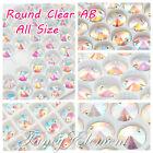 Glass Rivoli Round 8-18mm Clear AB Crystal Sew On Rhinestone Flatback Gems Beads