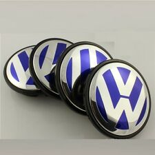 4 x VOLKSWAGEN VW 55mm centre roue en alliage hub caps GOLF POLO BORA JETTA Bleu