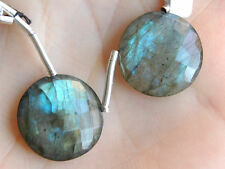 Natural Blue Green Flash Labradorite Faceted Round Coin Briolette Gemstone Beads