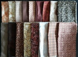 Coordinated Brown-Tone Assortment, Various Sizes, 12 Yards Total
