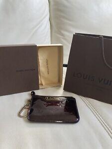Louis Vuitton Key Pouch Vernis Coin Purse Amarante With Receipt