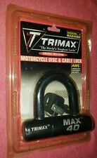 Trimax Ultra-High Max 40 Motorcycle Disc/ Cable Lock Black Max40Bk Free Shippin