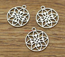 20pcs Lotus Flower Charms Floral Charms Finding Antique Silver Tone 20x23 2250