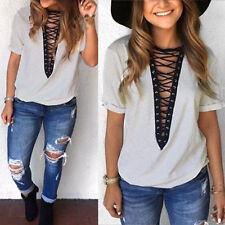 UK Women V Neck Casual Tops Choker T-shirt Lace-up Plunge Bandage Loose Blouse 8 Gray