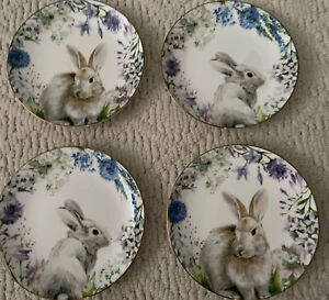 Williams Sonoma FLORAL MEADOW BUNNY Set of 4 Appetizer Plates NWT (2 Designs)