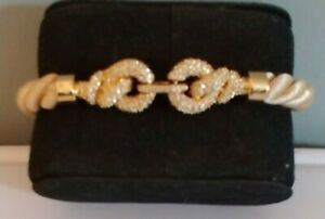Swarovski Tan, Soft Rope Bracelet with Intertwined Crystal Rings.