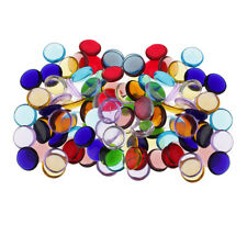200g Clear Colorful Round Glass Mosaic Tiles Tessera for Art Crafts 15mm