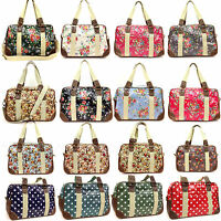 Ladies Oilcloth Flower/Owl/Polka Dot Holdall Weekend Travel Bag Tote Bag