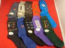 Lot of 10 Pairs MultiColored Women's/Girl's Size 9-11 Socks,15% Spandex,2% Nylon
