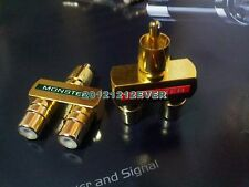 2x Gold Monster RCA AV Audio Y Splitter Plug Adapter 1 Male to 2 Female